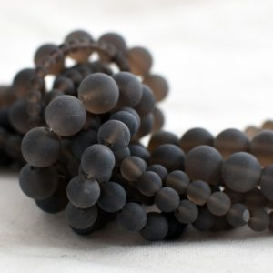 "Shop Smoky Quartz Round Beads! Grade A Natural Smoky Quartz (brown) – Frosted / Matte – Semi-precious Gemstone Round Beads – 4mm, 6mm, 8mm, 10mm – 15.5"" Strand 