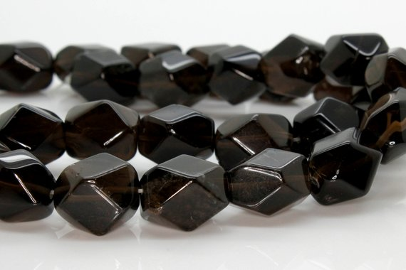 Smoky Quartz Transparent Oval Faceted Beads Natural Stone Gemstone (full Strand - 12mm X 16mm)