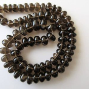 Shop Smoky Quartz Rondelle Beads! Smoky Quartz Rondelle Beads, Smooth Smoky Quartz Beads, 7-12mm Each, 18 Inch Strand, GDS610 | Natural genuine rondelle Smoky Quartz beads for beading and jewelry making.  #jewelry #beads #beadedjewelry #diyjewelry #jewelrymaking #beadstore #beading #affiliate #ad