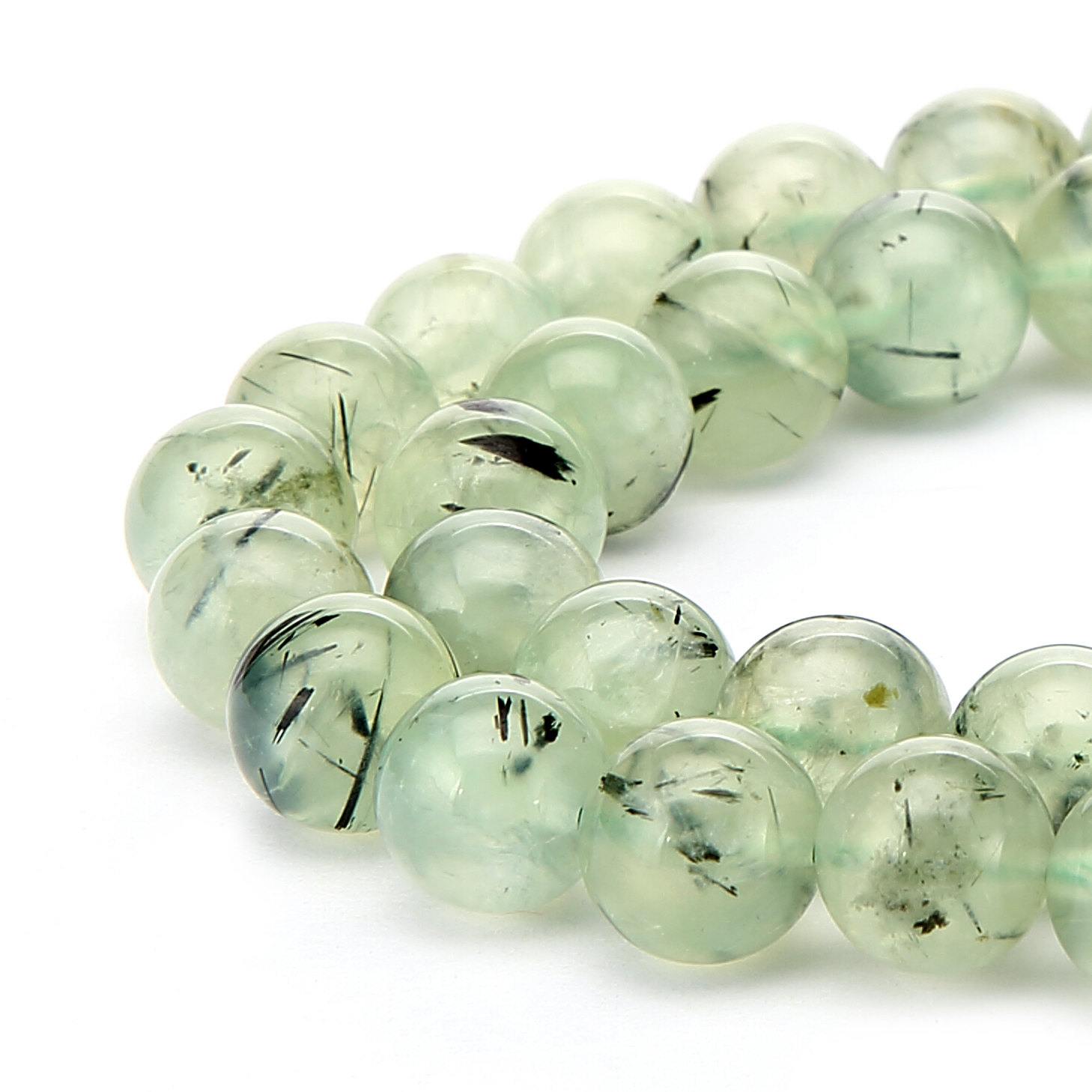 "Prehnite Smooth Round Beads 6mm 8mm 10mm 12mm 14mm 15.5"" Strand"