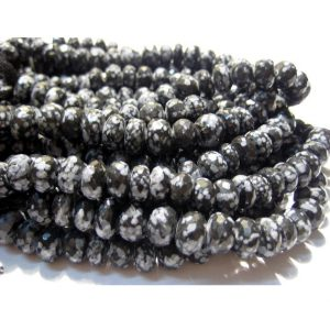 Shop Snowflake Obsidian Rondelle Beads! Snowflake Jasper/ Snowflake Obsidian/ Spotted Grey Jasper/ Jasper – 20 Pieces Faceted Rondelles – 10mm Each – 5 Inches half Strand | Natural genuine rondelle Snowflake Obsidian beads for beading and jewelry making.  #jewelry #beads #beadedjewelry #diyjewelry #jewelrymaking #beadstore #beading #affiliate #ad