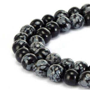 "Shop Snowflake Obsidian Beads! Snowflake Obsidian Smooth Round Gemstone Loose Beads Size 4/6/8/10/12mm Approx 15.5"" Long Per Strand 