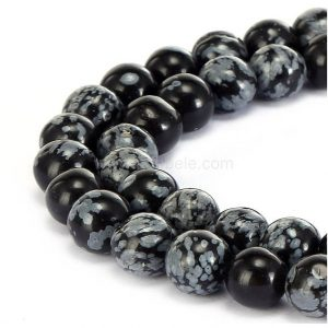 "Shop Snowflake Obsidian Beads! You Pick Top Quality Natural Snowflake Obsidian Gemstone 4mm 6mm 8mm 10mm Round Loose Beads 15.5"" #gf14 