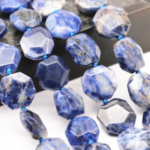 "Natural Sodalite Faceted Flat Hexagonal Beads 15x15mm 15.5"" Strand 