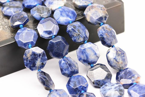 """Natural Sodalite Faceted Flat Hexagonal Beads 15x15mm 15.5"""" Strand"""