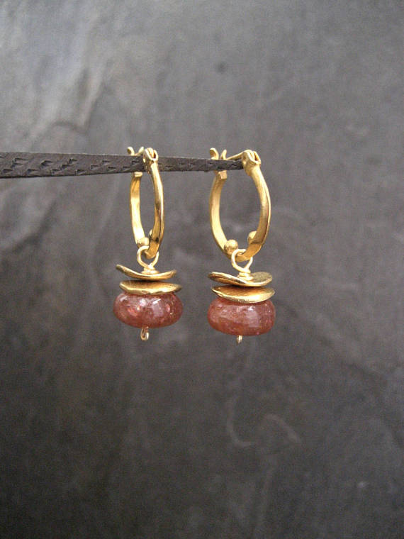 Sunstone Earrings, Small Hoops, Dangle Earrings, Genuine Sunstone, Rondelle Drop, Rusty Orange, Smooth Bead, Handmade