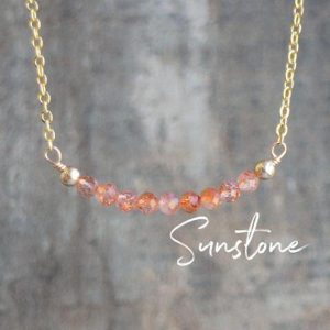 Delicate Sunstone Bar Necklace, Good Luck Gift for Her | Natural genuine Sunstone necklaces. Buy crystal jewelry, handmade handcrafted artisan jewelry for women.  Unique handmade gift ideas. #jewelry #beadednecklaces #beadedjewelry #gift #shopping #handmadejewelry #fashion #style #product #necklaces #affiliate #ad