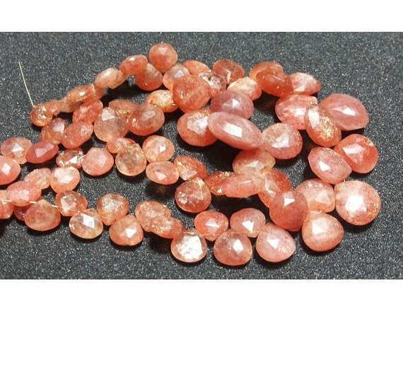 13mm-18mm Beads Sunstone Faceted Heart Shaped Briolettes, Sunstone Faceted Heart Briolettes For Jewelry (10pcs To 20pcs Options) - Sfh