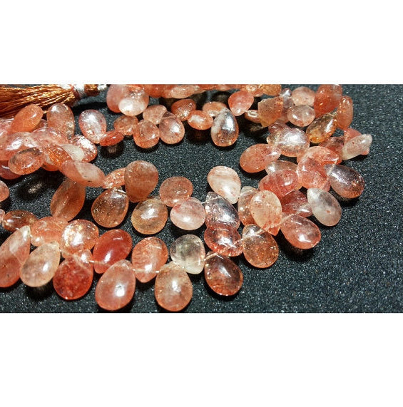 13x10mm Sunstone Faceted Pear Shaped Briolettes, Sunstone Pear Beads, Sunstone Faceted Pear Briolettes For Jewelry (10pcs To 20pcs Options)
