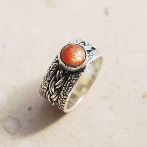 Unique Ring, Promise Ring, Sunstone Ring, Sterling Silver, Orange Stone Ring, Wide Ring, Hammered Ring, Textured Ring, Braided Ring | Natural genuine Sunstone jewelry. Buy crystal jewelry, handmade handcrafted artisan jewelry for women.  Unique handmade gift ideas. #jewelry #beadedjewelry #beadedjewelry #gift #shopping #handmadejewelry #fashion #style #product #jewelry #affiliate #ad