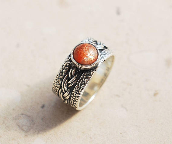 Sunstone Ring, Sun Stone Ring, Orange Stone Ring, Sterling Silver Ring, Wide Silver Band, Anniversary Band, Wedding Band, Promise Ring