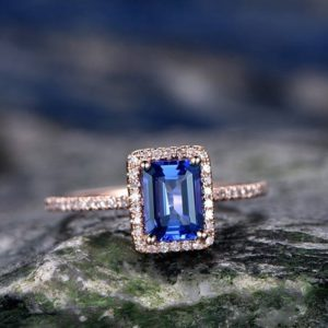 Shop Tanzanite Jewelry! 5x7mm Blue Tanzanite Wddding Ring-solid 14k Rose Gold Ring-handmade Diamond Engagement Ring-emerald Cut Gemstone Promise Ring, custom Ring | Natural genuine Tanzanite jewelry. Buy handcrafted artisan wedding jewelry.  Unique handmade bridal jewelry gift ideas. #jewelry #beadedjewelry #gift #crystaljewelry #shopping #handmadejewelry #wedding #bridal #jewelry #affiliate #ad