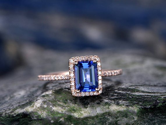 5x7mm Blue Tanzanite Wddding Ring-solid 14k Rose Gold Ring-handmade Diamond Engagement Ring-emerald Cut Gemstone Promise Ring,custom Ring