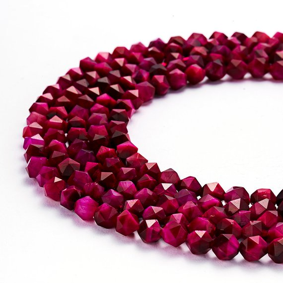 """Pink Tiger Eye Faceted Star Cut Loose Beads Size 8mm 15.5"""" Strand"""