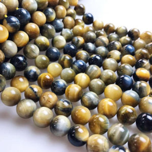 "Shop Tiger Eye Beads! Golden Blue Tiger Eye Smooth Round Beads 4mm 6mm 8mm 10mm 12mm 15.5"" Strand 
