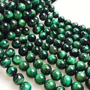 "Green Tiger Eye Smooth Round Beads 4mm 6mm 8mm 10mm 12mm 15.5"" Strand 