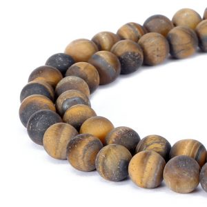 Shop Tiger Eye Round Beads! Matte Yellow Tiger Eye Round Gemstone Loose Beads 15.5 Inch per Strand, Size 4mm/6mm/8mm/10mm/12mm. R-M-TIG-0281 | Natural genuine round Tiger Eye beads for beading and jewelry making.  #jewelry #beads #beadedjewelry #diyjewelry #jewelrymaking #beadstore #beading #affiliate