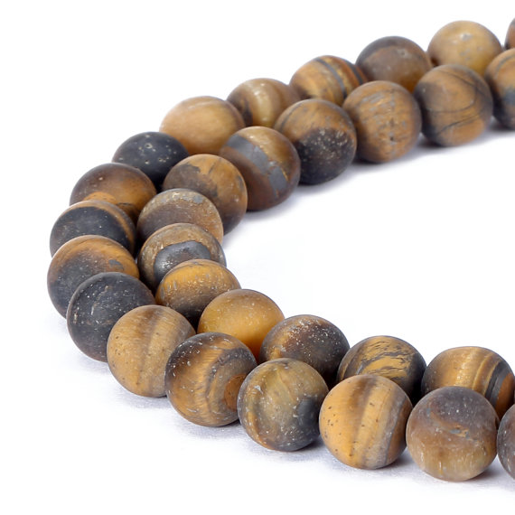 "Yellow Tiger Eye Matte Round Beads 4mm 6mm 8mm 10mm 12mm 15.5"" Strand"