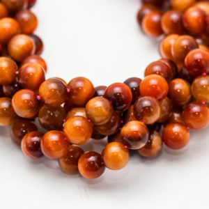 "Shop Tiger Eye Round Beads! Orange Tiger Eye Smooth Round Beads 4mm 6mm 8mm 10mm 12mm 15.5"" Strand 