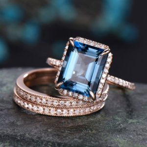 London blue topaz engagement ring 14k rose gold 3pcs bridal set halo diamond ring matching emerald cut jewelry wedding promise ring for her | Natural genuine Gemstone rings, simple unique alternative gemstone engagement rings. #rings #jewelry #bridal #wedding #jewelryaccessories #engagementrings #weddingideas #affiliate #ad