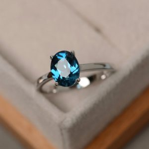 Shop Topaz Jewelry! London blue topaz ring, gemstone ring sterling silver, November birthstone ring, anniversary ring, solitaire ring | Natural genuine gemstone jewelry in modern, chic, boho, elegant styles. Buy crystal handmade handcrafted artisan art jewelry & accessories. #jewelry #beaded #beadedjewelry #product #gifts #shopping #style #fashion #product
