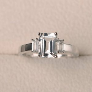 Shop Topaz Rings! Natural White Topaz Ring, Promise Ring, Emerald Cut Gemstone, Sterling Silver Ring | Natural genuine Topaz rings, simple unique handcrafted gemstone rings. #rings #jewelry #shopping #gift #handmade #fashion #style #affiliate #ad