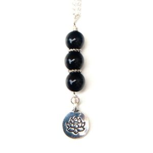 Black Tourmaline Necklace With Lotus Charm | Natural genuine Tourmaline pendants. Buy crystal jewelry, handmade handcrafted artisan jewelry for women.  Unique handmade gift ideas. #jewelry #beadedpendants #beadedjewelry #gift #shopping #handmadejewelry #fashion #style #product #pendants #affiliate #ad