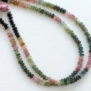 Shop Tourmaline Rondelle Beads! 4-5mm Multi Tourmaline Plain Button Beads, Shaded Multi Tourmaline 10 Inch Plain Rondelles, Pink And Green Tourmaline For Necklace | Natural genuine rondelle Tourmaline beads for beading and jewelry making.  #jewelry #beads #beadedjewelry #diyjewelry #jewelrymaking #beadstore #beading #affiliate #ad