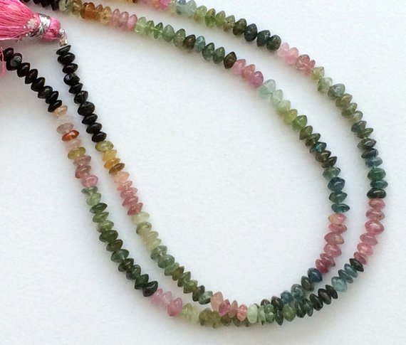 Multi Tourmaline Beads, Multi Tourmaline Plain Button Rondelle Beads, 4-4.5mm Multi Tourmaline Beads, 10 Inch Strand, Tourmaline Gemstone