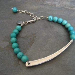 Assymetrical bar bracelet with turquoise – solid heavy sterling silver | Natural genuine Turquoise bracelets. Buy crystal jewelry, handmade handcrafted artisan jewelry for women.  Unique handmade gift ideas. #jewelry #beadedbracelets #beadedjewelry #gift #shopping #handmadejewelry #fashion #style #product #bracelets #affiliate #ad