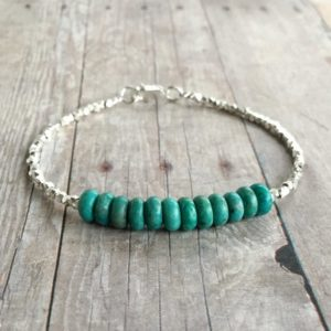 Shop Turquoise Bracelets! Genuine Turquoise Jewelry / Small Sterling Silver Bead Bracelet / Blue Green Gemstone Jewelry / Simple Everyday Summer Bracelet | Natural genuine Turquoise bracelets. Buy crystal jewelry, handmade handcrafted artisan jewelry for women.  Unique handmade gift ideas. #jewelry #beadedbracelets #beadedjewelry #gift #shopping #handmadejewelry #fashion #style #product #bracelets #affiliate #ad
