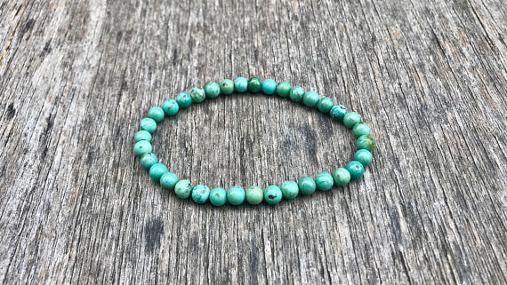 Dainty Carico Lake Turquoise Beaded Bracelet Genuine 5-6mm Lander Nevada Carico Lake Turquoise Bracelet Beautiful Carico Turquoise Rounds