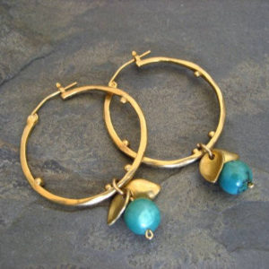 Turquoise hoops, dangle hoops, turquoise drop, leaves hoops, gold hoops, circle earrings, dotted hoops | Natural genuine Turquoise earrings. Buy crystal jewelry, handmade handcrafted artisan jewelry for women.  Unique handmade gift ideas. #jewelry #beadedearrings #beadedjewelry #gift #shopping #handmadejewelry #fashion #style #product #earrings #affiliate #ad