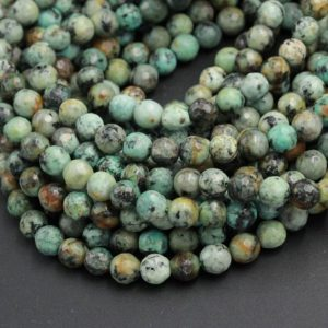 "Shop Turquoise Faceted Beads! Faceted African Turquoise 4mm 6mm 8mm 10mm Round Beads High Quality Natural Turquoise Gemstone Lots of Blues Greens 16"" Strand 