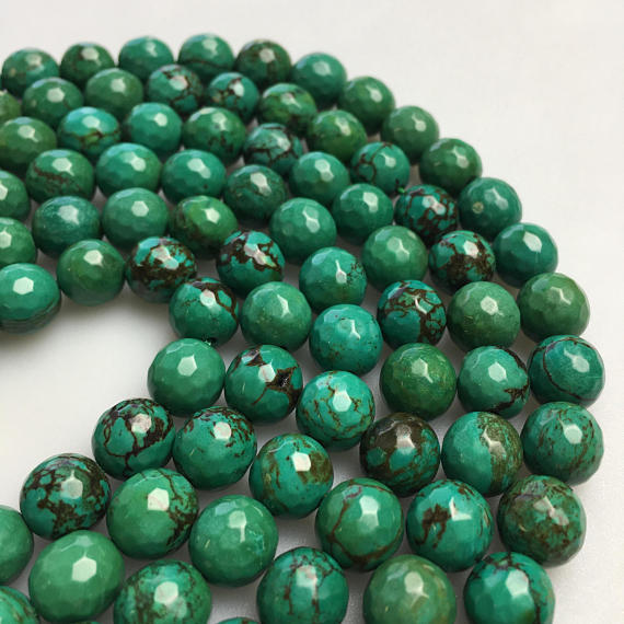 """Green Turquoise Faceted Round Beads 4mm 6mm 8mm 10mm 15.5"""" Strand"""