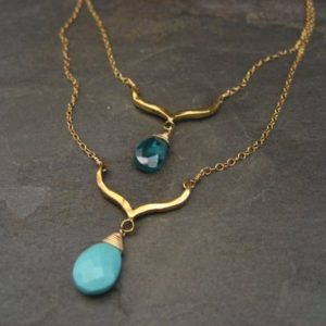 Sleeping beauty turquoise and aqua cz double gold filled necklace. | Natural genuine Turquoise necklaces. Buy crystal jewelry, handmade handcrafted artisan jewelry for women.  Unique handmade gift ideas. #jewelry #beadednecklaces #beadedjewelry #gift #shopping #handmadejewelry #fashion #style #product #necklaces #affiliate #ad