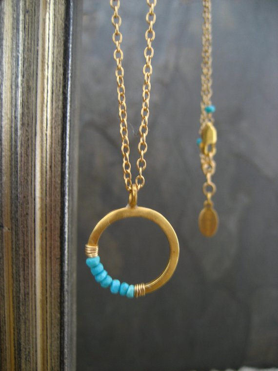 Crescent Necklace, Turquoise Necklace, Moon Pendant, Sleeping Beauty, Half Moon, Circle Pendant, Round Circle, Faceted Turquoise