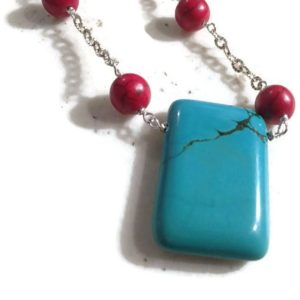 Shop Turquoise Pendants! Red Necklace – Turquoise Jewelry – Gemstone Jewellery – Sterling Silver Chain – Pendant – Fashion | Natural genuine Turquoise pendants. Buy crystal jewelry, handmade handcrafted artisan jewelry for women.  Unique handmade gift ideas. #jewelry #beadedpendants #beadedjewelry #gift #shopping #handmadejewelry #fashion #style #product #pendants #affiliate #ad