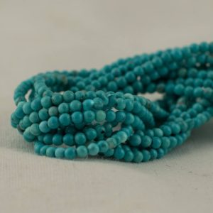 "Shop Turquoise Round Beads! High Quality Grade A Turquoise (dyed) Semi-precious Gemstone Round Beads – 2mm – 15.5"" Long 