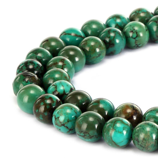 """Green Turquoise Smooth Round Beads Size 3mm 6mm 8mm 10mm 12mm 15.5"""" Strand"""