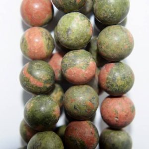 "Shop Unakite Round Beads! Genuine Matte Unakite Beads – Round 10 mm Gemstone Beads – Full Strand 15 1/2"", 40 beads, A Quality 