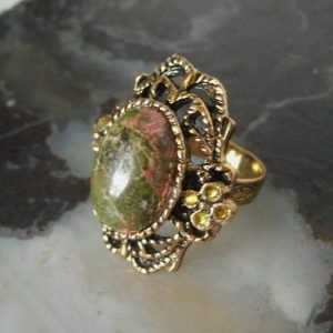 Shop Unakite Rings! Unakite Ring boho jewelry bohemian jewelry hippie jewelry gypsy jewelry metaphysical boho ring bohemian ring hippie ring gypsy ring new age | Natural genuine Unakite rings, simple unique handcrafted gemstone rings. #rings #jewelry #shopping #gift #handmade #fashion #style #affiliate #ad