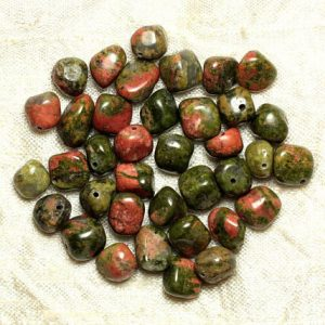 Shop Unakite Chip & Nugget Beads! Wire 39cm 43pc env – stone beads – Unakite Nuggets tumbled 8-10mm | Natural genuine chip Unakite beads for beading and jewelry making.  #jewelry #beads #beadedjewelry #diyjewelry #jewelrymaking #beadstore #beading #affiliate #ad