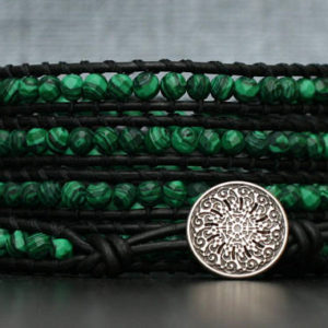 wrap bracelet- faceted malachite and black leather- beaded leather wrap bracelet – boho mens or womens | Natural genuine Gemstone bracelets. Buy handcrafted artisan men's jewelry, gifts for men.  Unique handmade mens fashion accessories. #jewelry #beadedbracelets #beadedjewelry #shopping #gift #handmadejewelry #bracelets #affiliate #ad