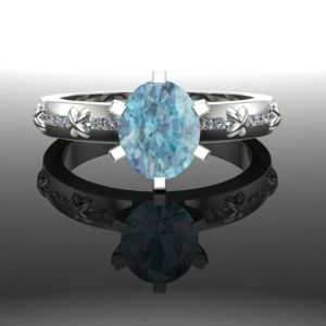 "Blue Zircon Ring With Diamonds In 14k Gold, Criss Cross Textured Band | Usa Custom Made | ""antigua"" 