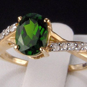 Shop Zircon Rings! Completely Natural Chrome (russian) Diopside Oval Solitaire With White Zircon Accents 10k Solid Gold Ring | Natural genuine Zircon rings, simple unique handcrafted gemstone rings. #rings #jewelry #shopping #gift #handmade #fashion #style #affiliate #ad