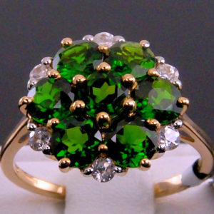 Shop Zircon Rings! Natural Chrome (russian) Diopside Floral Cluster Design With White Zircon Accents 10k Solid Gold Ring | Natural genuine Zircon rings, simple unique handcrafted gemstone rings. #rings #jewelry #shopping #gift #handmade #fashion #style #affiliate #ad