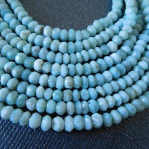 10-100 pcs / Larimar Rondelle Beads Gemstone Loose Bead / 3-3.5 mm, Larimar Faceted Roundels, AAA, Dominican Republic Gem Aqua Blue Bead | Natural genuine rondelle Larimar beads for beading and jewelry making.  #jewelry #beads #beadedjewelry #diyjewelry #jewelrymaking #beadstore #beading #affiliate #ad
