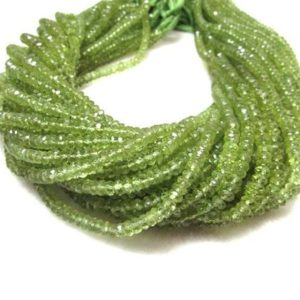13.5 Inch 4mm To 4.5mm GREEN PERIDOT Rondelle beads faceted gemstone… Peridot Faceted Beads Rondelle Gemstone | Natural genuine rondelle Peridot beads for beading and jewelry making.  #jewelry #beads #beadedjewelry #diyjewelry #jewelrymaking #beadstore #beading #affiliate #ad