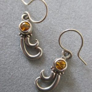 Shop Yellow Sapphire Earrings! 14Kt White Gold Swirl Yellow Sapphire Earrings | Natural genuine Yellow Sapphire earrings. Buy crystal jewelry, handmade handcrafted artisan jewelry for women.  Unique handmade gift ideas. #jewelry #beadedearrings #beadedjewelry #gift #shopping #handmadejewelry #fashion #style #product #earrings #affiliate #ad